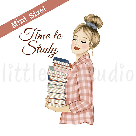 Time to Study Fashion Girl Stickers - Light Skin, Blonde Hair - Style 441M
