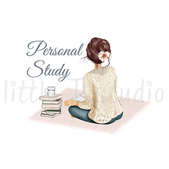 Cozy Home Dark Brown Hair Personal Study Stickers - Style 1110 or 498M