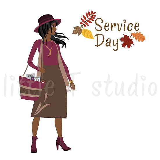 Happy in the Ministry Fall Themed Service Day Stickers Dark Brwn Skin- Style 688