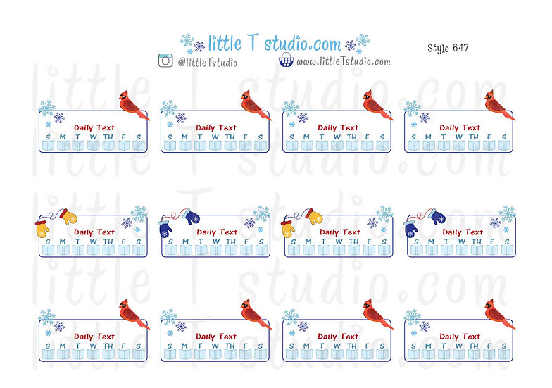 Read Daily Text Checklist Winter Themed Reminder Stickers - Style 647