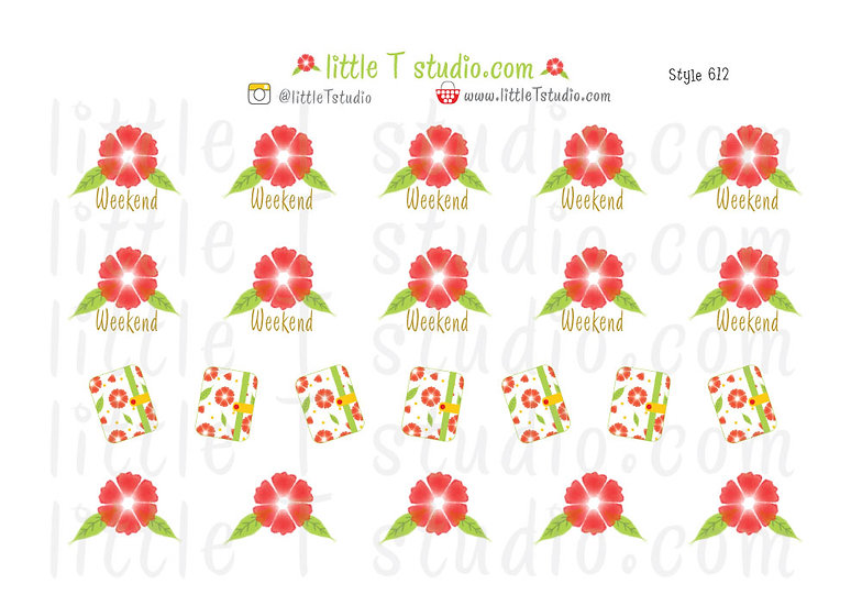 Weekend and Planner Decorative Ruby Red Floral Script Stickers - Style 612