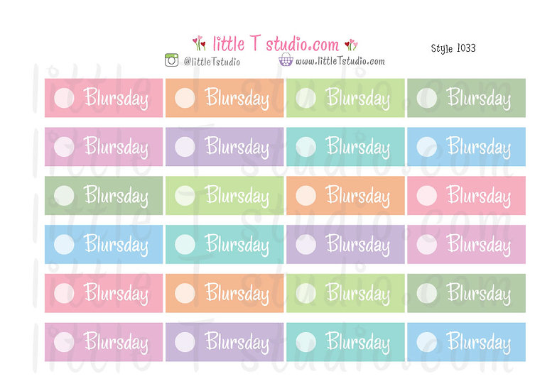Blursday Day of the Week Header Stickers Style 1033