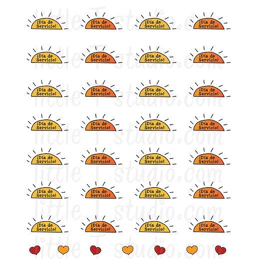 Día de Servicio Reminder Mini Stickers - Style 045M