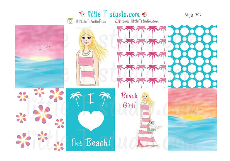 Erin Condren Vertical Box Stickers - Summer Fashion Girl! - Style 302