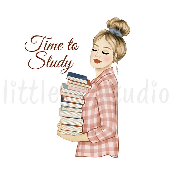 Time to Study Fashion Girl Stickers - Light Skin, Blonde Hair - Style 1098