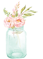 flowers in mason jar