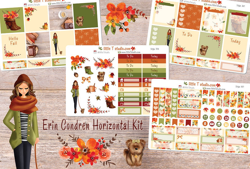 Crisp Morning Erin Condren Horizontal Fall Sticker Kit - Light Skin, Brown Hair