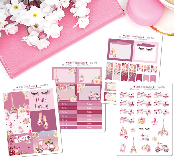 Lovely Paris - Deluxe Mini Size Sticker Kit - Styles 300M - 303M