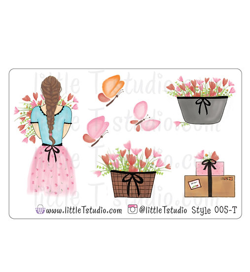 Spring Floral Girl Stickers - Style 005-T