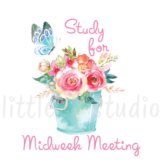 Study for Midweek Meeting Reminder Stickers Spring Butterfly - Style 661