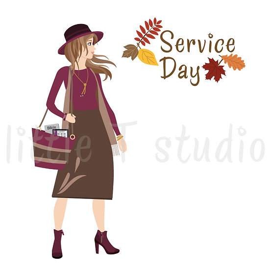 Happy in the Ministry Fall Themed Service Day Stickers - Brown Hair - Style 685