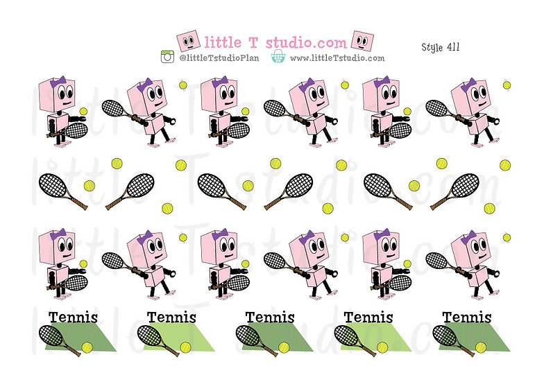 Busy Bots Girl - Tennis Sticker Set - Style 411