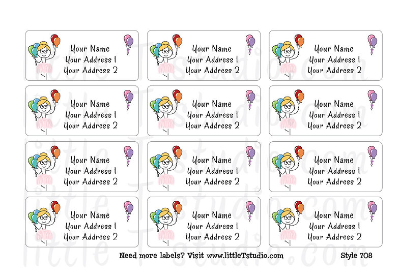 Return Address Labels - Busy Ballerina Party! Pick Your Hair Color! - Style 708
