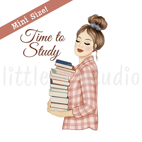 Time to Study Fashion Girl Stickers - Light Skin, Light Brown Hair - Style 440M