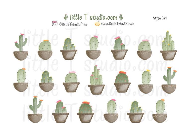 Watercolor Desert Cactus Sticker Set - Style 142