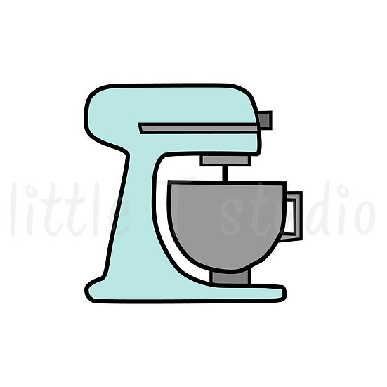 Stand Mixer Pastel Colors, Baking Mini Size Icon Stickers - Style 144M