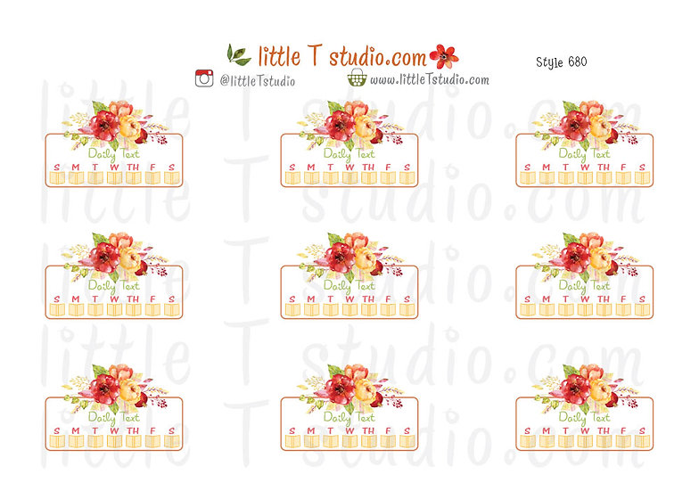 Read Daily Text Checklist Stickers Fall Floral - Style 680