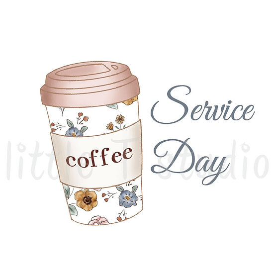 Service Day Coffee Cup Stickers - Style 1089