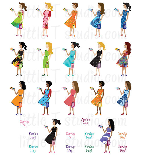 Happy in the Ministry Field Service Girls Mini Stickers - Style 002M