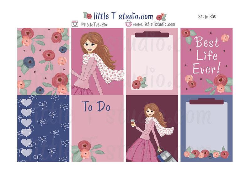 Cart Girl - Erin Condren Vertical Sticker Sheet - Style 350