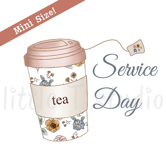 Service Day Tea To-Go Cup Mini Size Stickers - Style 444M