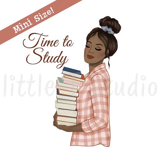 Time to Study Fashion Girl Stickers - Dark Skin, Dark Hair - Style 438M