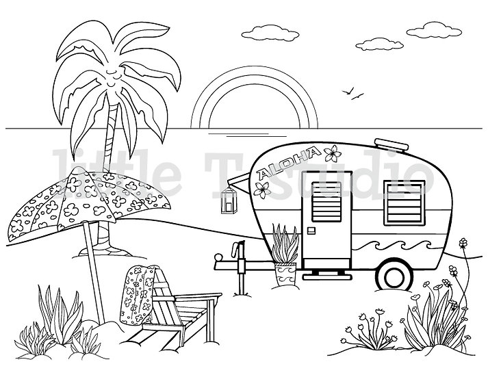 Beach Camping Travel Trailer Coloring Page