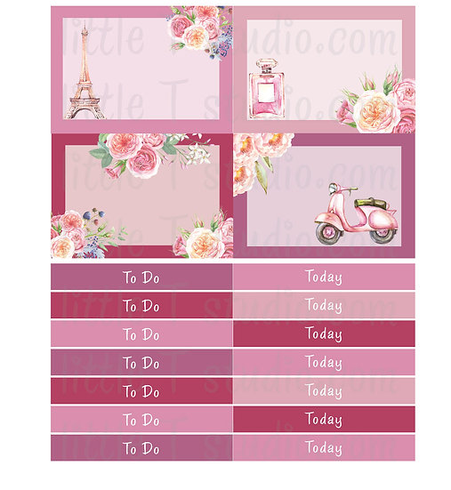 Lovely Paris - Mini Size To Do, Today Stickers - Style 302M