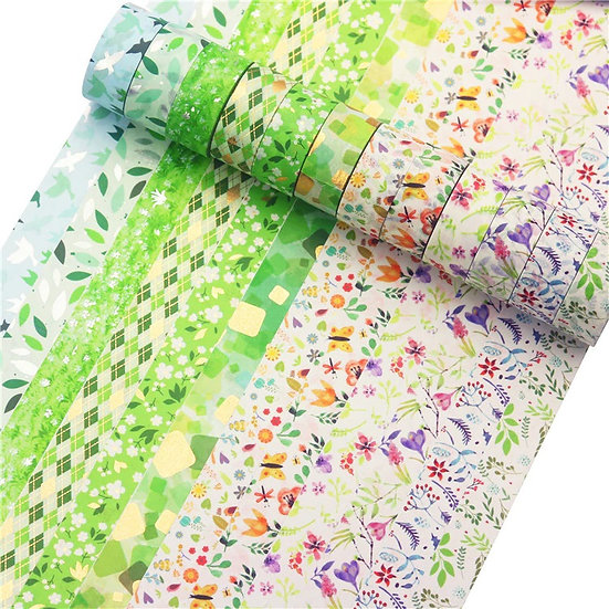 Washi Tape - Green Garden or Florals & Butterflies Set of 6 Rolls