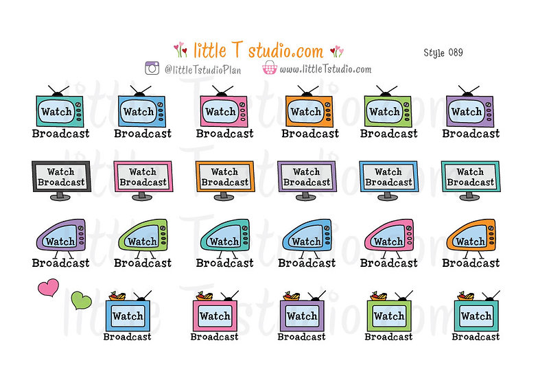 Watch Broadcast TV Reminder Stickers - Style 089