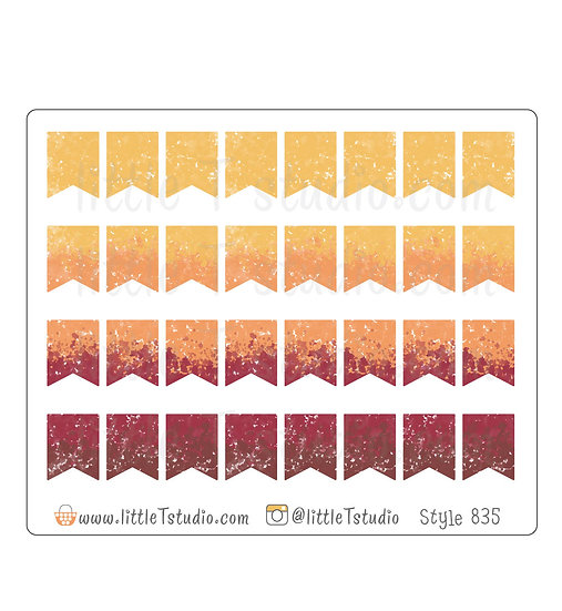 Watercolor Small Flag Stickers - Fall Colors - Style 835
