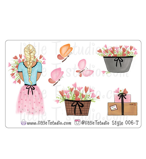 Spring Floral Girl Stickers - Style 006-T