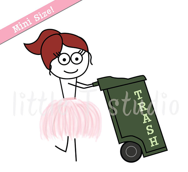 Busy Ballerina Mini Size - Trash Day Reminder Stickers - Style 220M
