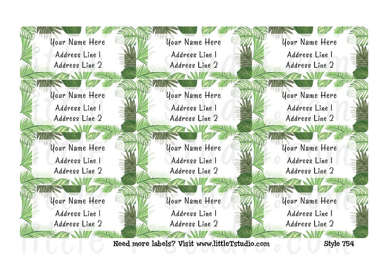 Return Address Labels - Tropical Palm Branches - Style 754