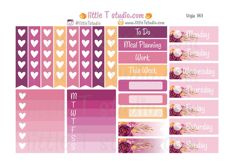 Floral Serenity - Checklist and Weekday Sticker Labels - Style 363