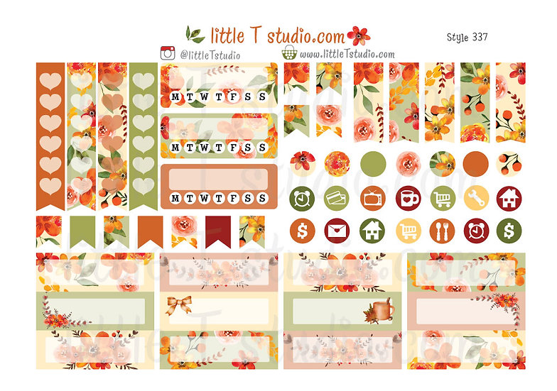 Crisp Morning Fall Tab, Icon, Tracker, Entry Box Stickers - Style 337