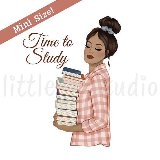 Time to Study Fashion Girl Stickers - Tan Skin, Dark Hair - Style 443M