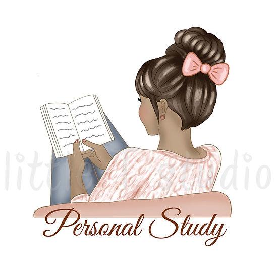 Personal Study Stickers - Tan Skin, Dark Hair - Style 1085