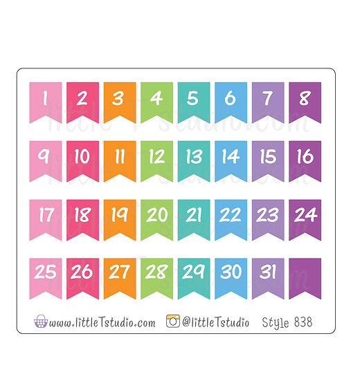 Colorful Small Date Flag Stickers - Style 838