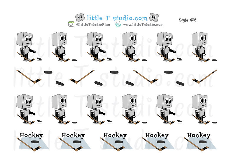 Busy Bots Boy - Hockey Sticker Set - Style 406