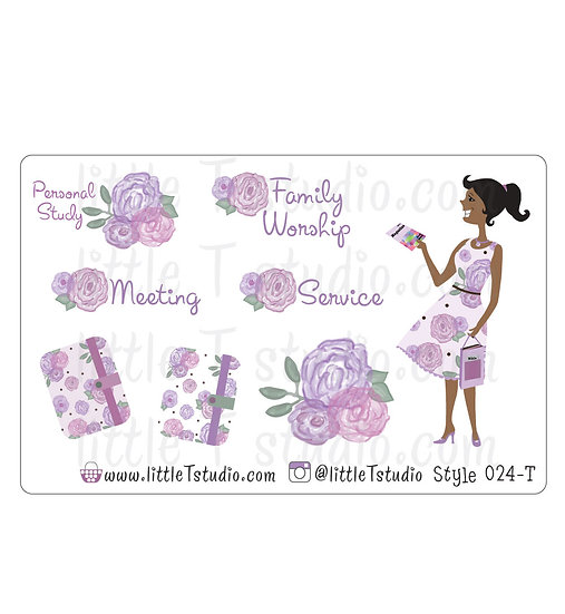 Field Service Girl Stickers - Purple Rose Floral - Style 024-T