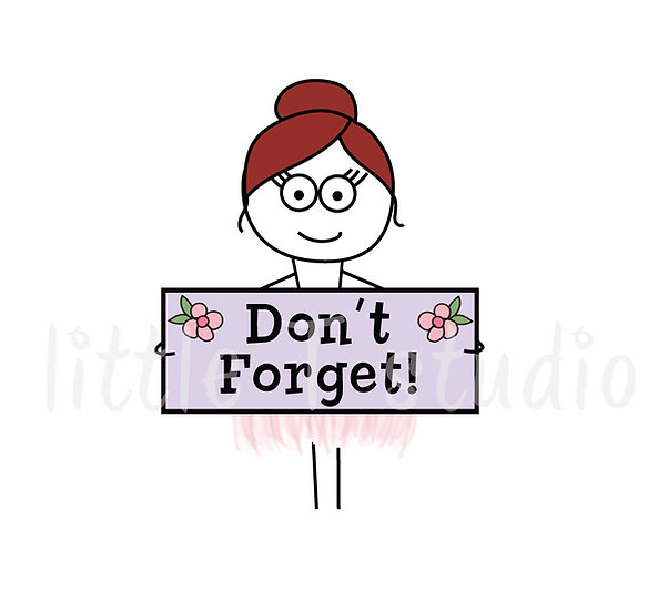 Busy Ballerina - Don't Forget Reminder Stickers - Style 212