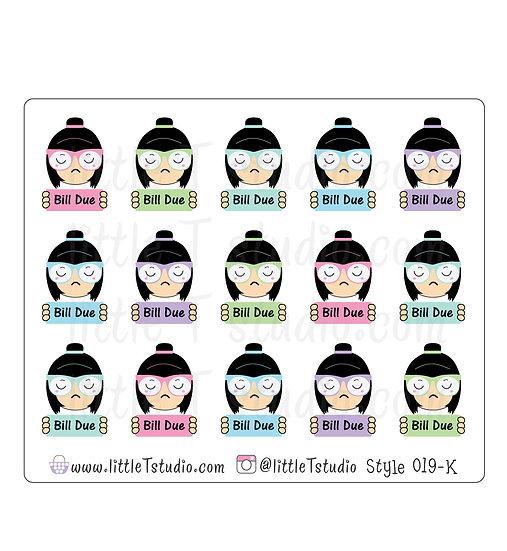 Kawaii Stickers - Bill Due - Style 019-K