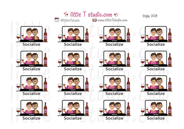 Socialize Virtually Stickers - Style 1028