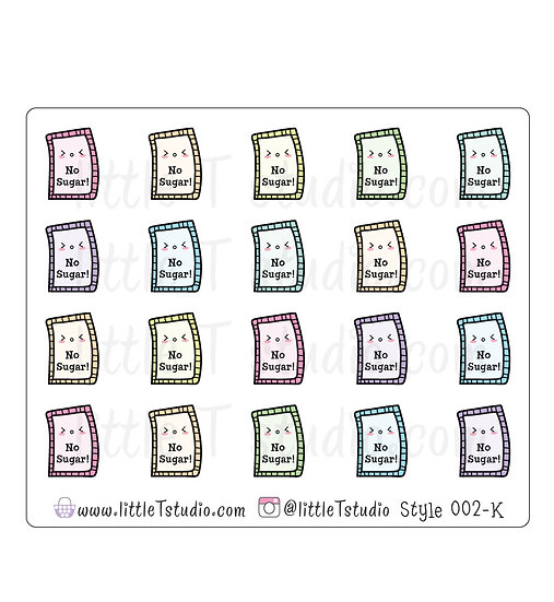 Kawaii Stickers - No Sugar - Style 002-K