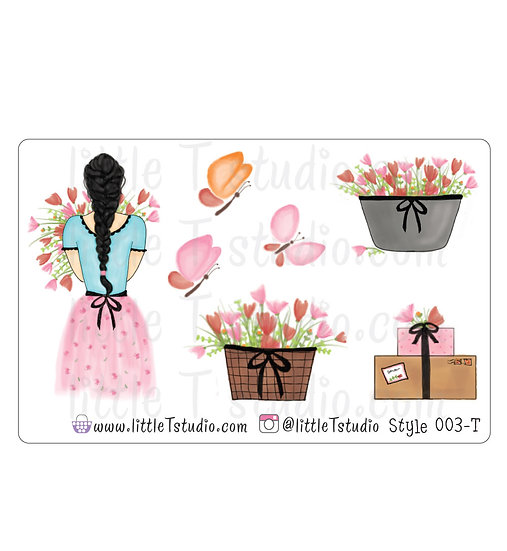 Spring Floral Girl Stickers - Style 003-T