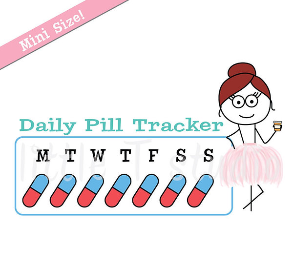 Busy Ballerina Mini Size - Daily Pill Tracker Stickers - Style 227M