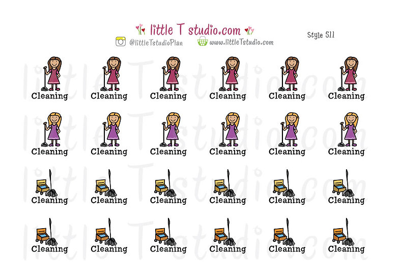 Cleaning Reminder Stickers - Style 511