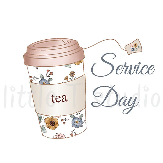 Service Day Tea To-Go Cup Stickers - Style 1101 or 444M