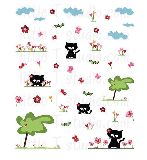 Abby the Cat Enjoys Flowers! Mini Sticker Set - Style 041M